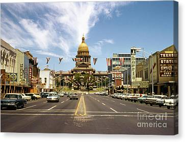 Vintage View Of The Texas State Capitol And Downtown Austin From September 1968 Canvas Print
