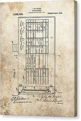 Vintage Voting Machine Patent Canvas Print by Dan Sproul
