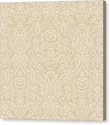Canvas Print featuring the digital art Vintage Wallpaper Beige Floral Elegant Damask by Tracie Kaska
