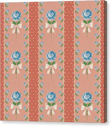 Canvas Print featuring the digital art Vintage Wallpaper Blue Roses Coral Polka Dots by Tracie Kaska