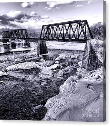 Vintage Waterville Railroad Bridge Canvas Print by Olivier Le Queinec