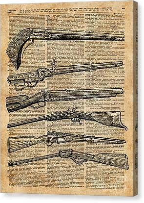 Vintage Weapons Antique Guns Dictionary Art Canvas Print by Jacob Kuch