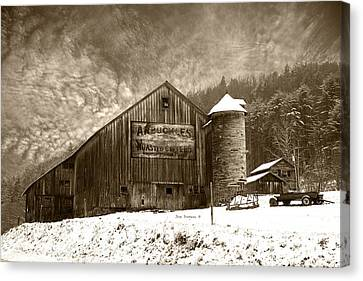 Vintage Weathered Winter Storm Barn Arbuckles Coffee Sign Canvas Print by John Stephens