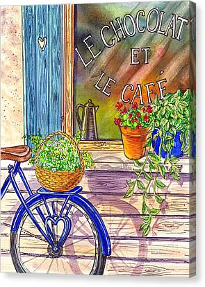Bicycle With Flowers Canvas Print - Vintage Window Le Cafe by Irina Sztukowski