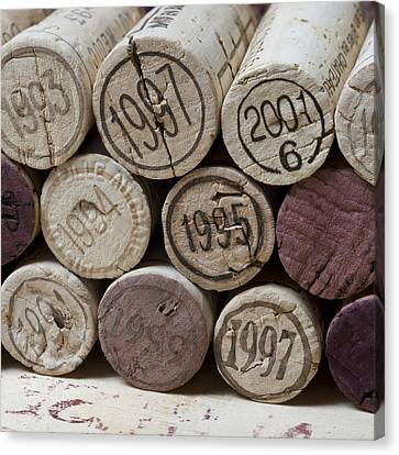 Vintage Wine Corks Square Canvas Print by Frank Tschakert