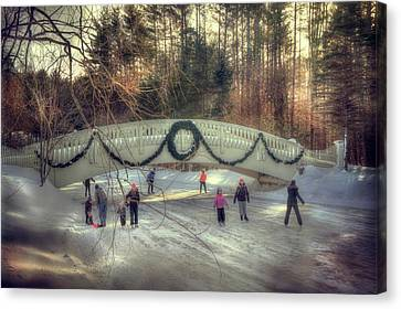 Vintage Winter Ice Skating Scene  Canvas Print by Joann Vitali