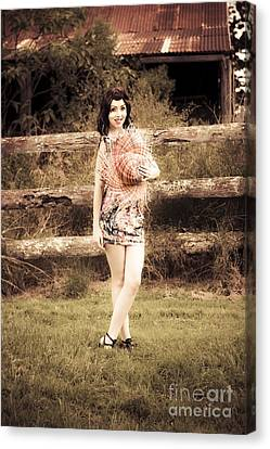 Vintage Woman In Farmyard Field Canvas Print by Jorgo Photography - Wall Art Gallery