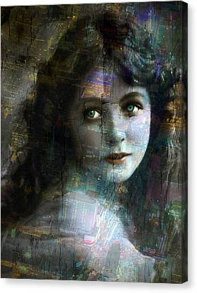 Vintage Woman Pop With Modern Highlights Sepia Vertical  Canvas Print by Tony Rubino