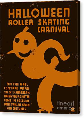 Vintage Wpa Halloween Roller Skating Carnival Poster Canvas Print by Edward Fielding
