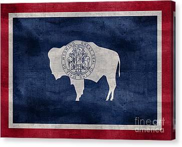 Vintage Wyoming Flag Canvas Print by Jon Neidert