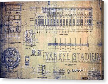 Vintage Yankee Stadium Blueprint Signed By Joe Dimaggio Canvas Print