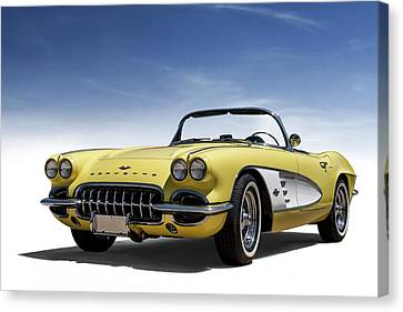 Custom Canvas Print - Vintage Yellow 'vette by Douglas Pittman