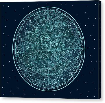 Vintage Zodiac Map - Teal Blue Canvas Print by Marianna Mills