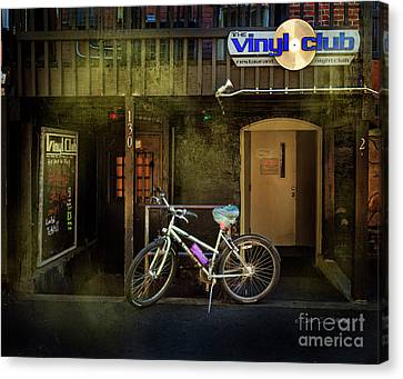 Canvas Print featuring the photograph Vinyl Club Bicycle by Craig J Satterlee