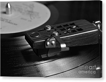 Vinyl Record Playing On A Turntable In Monochrome Canvas Print