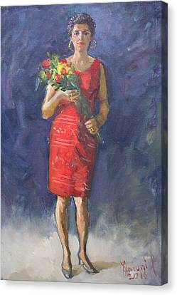Red Dress Canvas Print - Viola In Red by Ylli Haruni