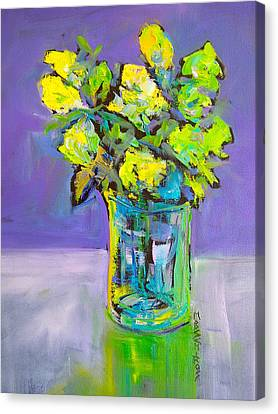 Canvas Print featuring the painting Violet And Lime by Mary Schiros