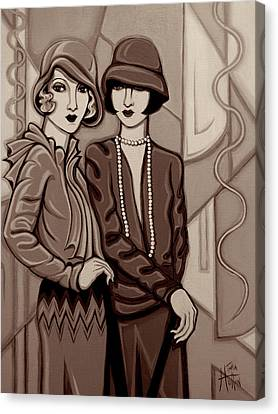 Violet And Rose In Sepia Tone Canvas Print by Tara Hutton