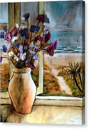 Canvas Print featuring the painting Violet Beach Flowers by Winsome Gunning