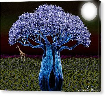 Violet Blue Baobab Canvas Print by Iowan Stone-Flowers