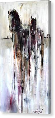 Canvas Print featuring the painting Violet Mirage by Cher Devereaux