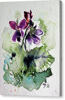 Canvas Print featuring the painting Violet Iv by Kovacs Anna Brigitta
