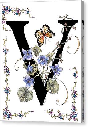 Violets And A Viceroy Butterfly Canvas Print