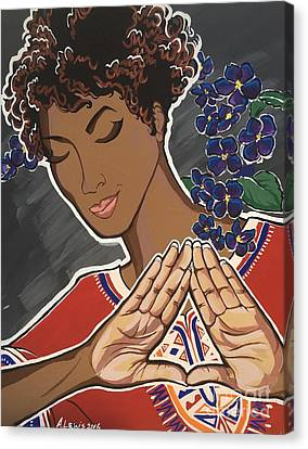 African Violets Canvas Print - Violets And Dashiki by Alisha Lewis