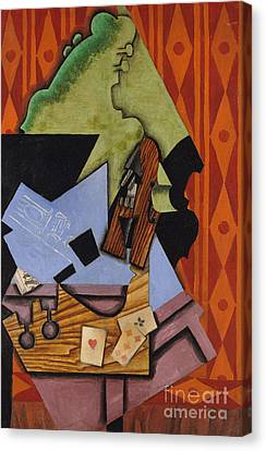 Abstract Art On Canvas Print - Violin And Playing Cards On A Table, 1913 by Juan Gris