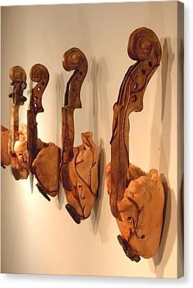 Violin Hearts Canvas Print by Karissa Bishop
