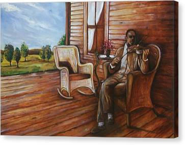 Canvas Print featuring the painting Violin Man by Emery Franklin