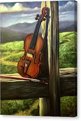 Canvas Print featuring the painting Violin by Randol Burns