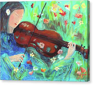 Violinist In Garden Canvas Print
