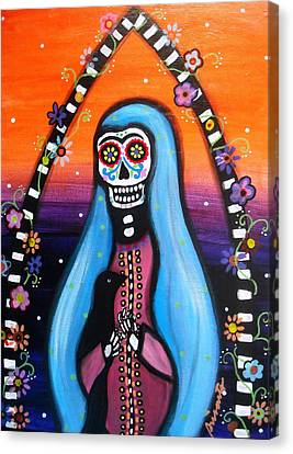 Canvas Print featuring the painting Virgen Guadalupe Muertos by Pristine Cartera Turkus
