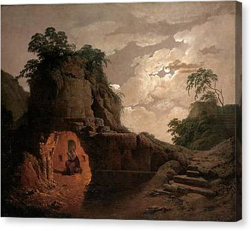 Canvas Print featuring the painting Virgil's Tomb By Moonlight With Silius Italicus Declaiming by Joseph Wright of Derby