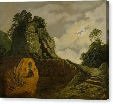 Virgil's Tomb By Moonlight, With Silius Italicus Canvas Print by Joseph Wright
