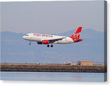 Virgin America Airlines Jet Airplane At San Francisco International Airport Sfo . 7d12180 Canvas Print by Wingsdomain Art and Photography