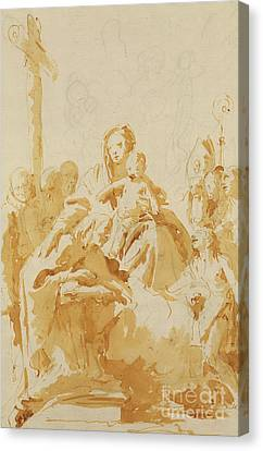 Virgin And Child Adored By Bishops, Monks And Women Canvas Print by Tiepolo