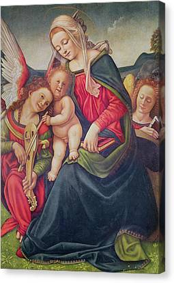 Virgin And Child And Angel Musicians  Canvas Print by Piero di Cosimo