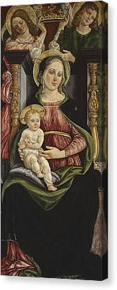 Virgin And Child Enthroned With Two Angels Holding A Crown Canvas Print by Michele Ciampanti