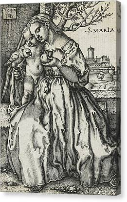 Virgin And Child With A Parrot Canvas Print