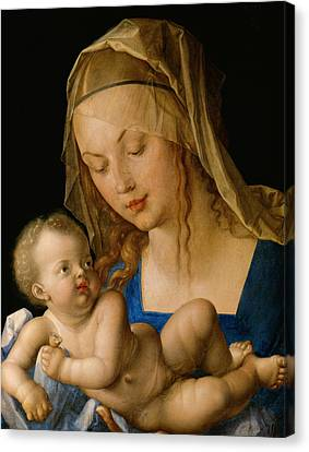 Jesus With A Child Canvas Print - Virgin And Child With A Pear by Albrecht Durer