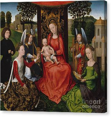 Virgin And Child With Saints Catherine Of Alexandria And Barbara, 1480 Canvas Print by Hans Memling