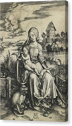 Virgin And Child With The Monkey Canvas Print by Albrecht Durer