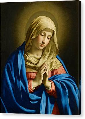 Virgin At Prayer Canvas Print by Giovanni