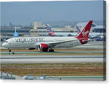 Canvas Print featuring the photograph Virgin Atlantic Boeing 787-9 G-vzig Los Angeles International Airport May 3 2016 by Brian Lockett