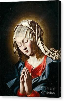 Virgin In Prayer Canvas Print by Giovanni Battista Salvi da Sassoferrato