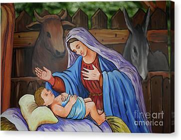 Virgin Mary And Baby Jesus Canvas Print by Gaspar Avila