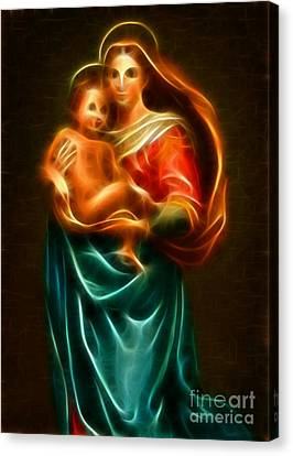 Virgin Mary And Baby Jesus Canvas Print by Pamela Johnson