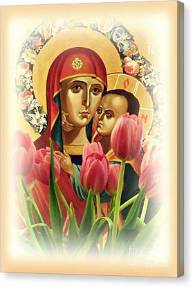 Virgin Mary And Tulips      Canvas Print